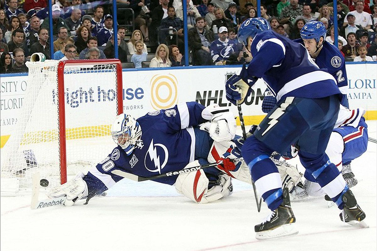 Lightning goalie Cedric Desjardins makes a save during a 4-3 loss to Montreal Saturday night in Tampa