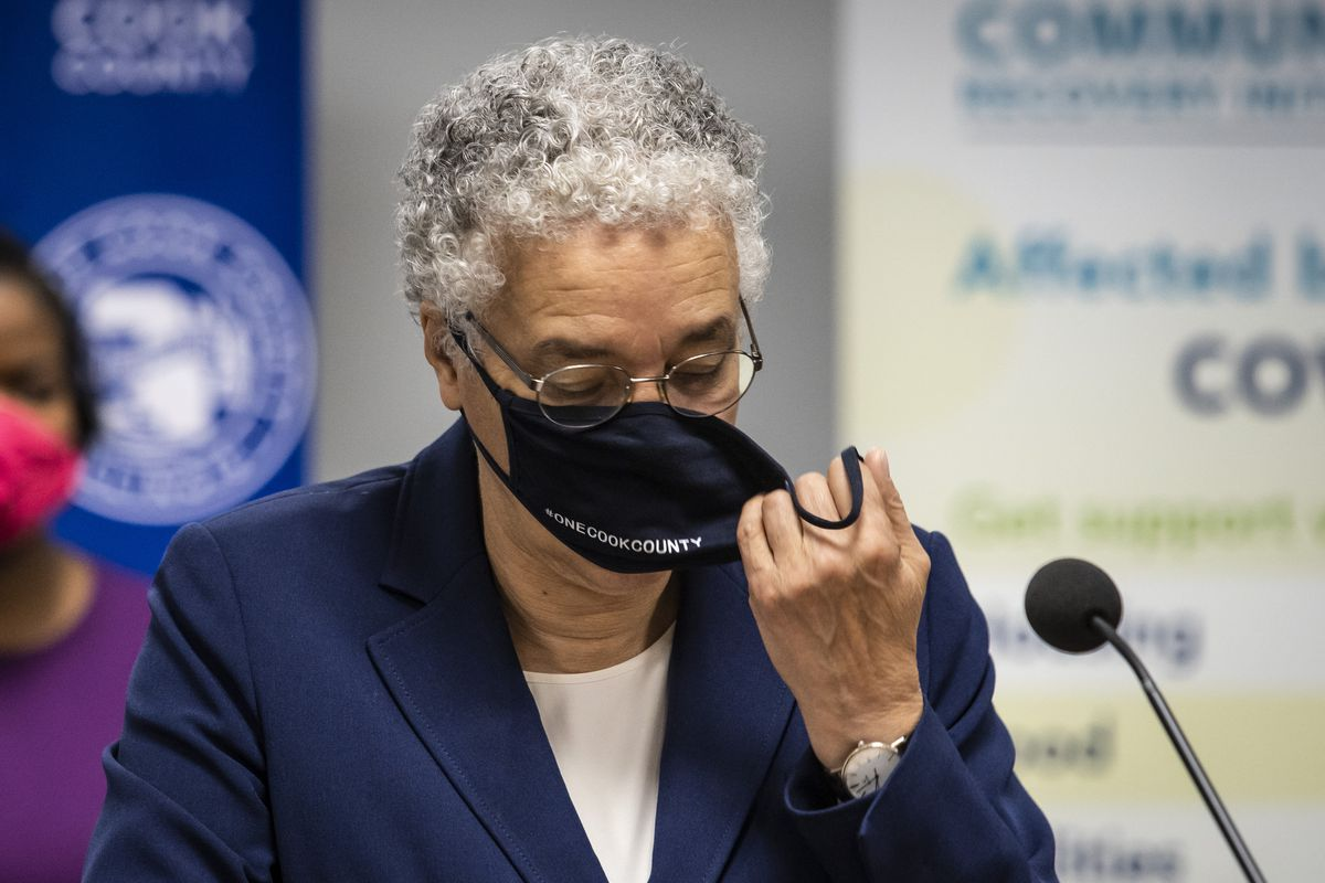 Cook County Board President Toni Preckwinkle appears at an October news conference. The county is now among 84 in Illinois wear federal public health officials say people should wear masks in public places indoors due to rising COVID-19 cases.