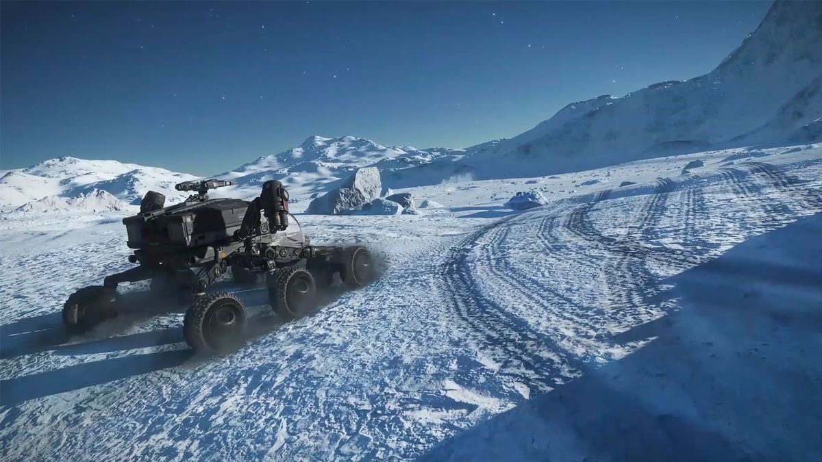 An SRV burning out on an icy planet in Elite Dangerous: Odyssey