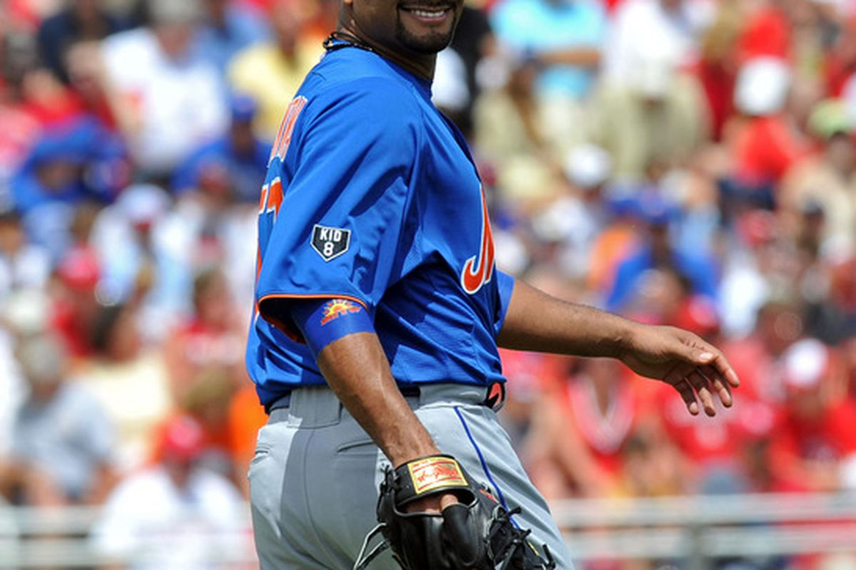 March 21, 2012; Jupiter, FL, USA; New York Mets starting pitcher Johan Santana (57) against the St. Louis Cardinals during a spring training game at Roger Dean Stadium. Mandatory Credit: Steve Mitchell-US PRESSWIRE