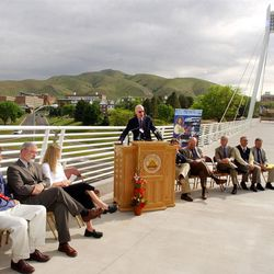 Senator Bob Bennett speaks at a press conference at George S. Eccles Pedestrian Bridge, University of Utah, Monday, May 20, 2002, to mark the start of construction on the TRAX Medical Center Light Rail Transit Line that will connect to the line that runs to the football stadium from downtown Salt Lake.