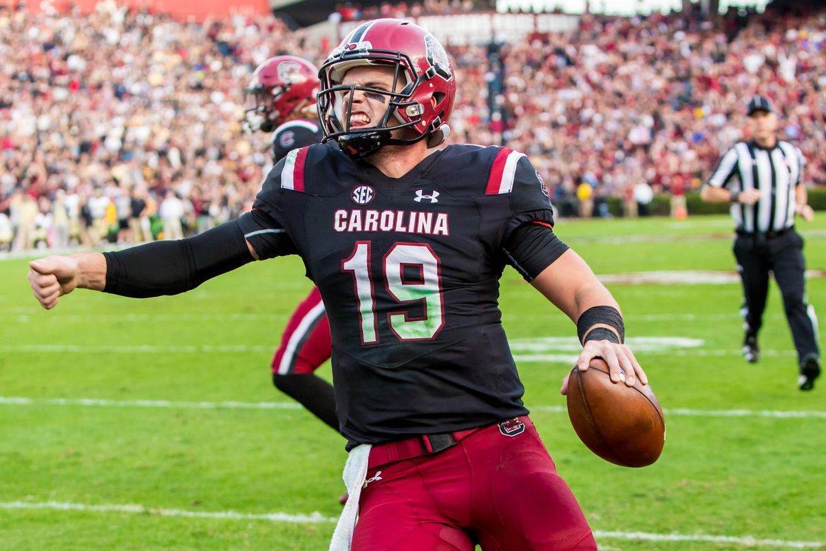 Nov 18, 2017; Columbia, SC, USA; South Carolina Gamecocks quarterback Jake Bentley (19) reacts after scoring a touchdown against the Wofford Terriers in the first half at Williams-Brice Stadium. Mandatory Credit: Jeff Blake-USA TODAY Sports