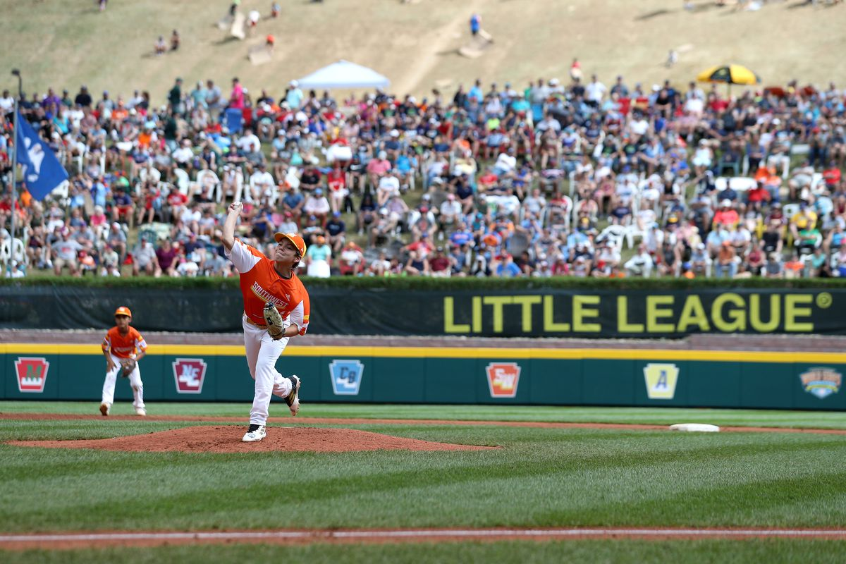 Starting pitcher Egan Prather of the Southwest Region team from River Ridge Louisiana pitches against the Caribbean Region team from Willemstad, Curacao during the Championship Game of the Little League World Series at Lamade Stadium on August 25, 2019 in South Williamsport, Pennsylvania.