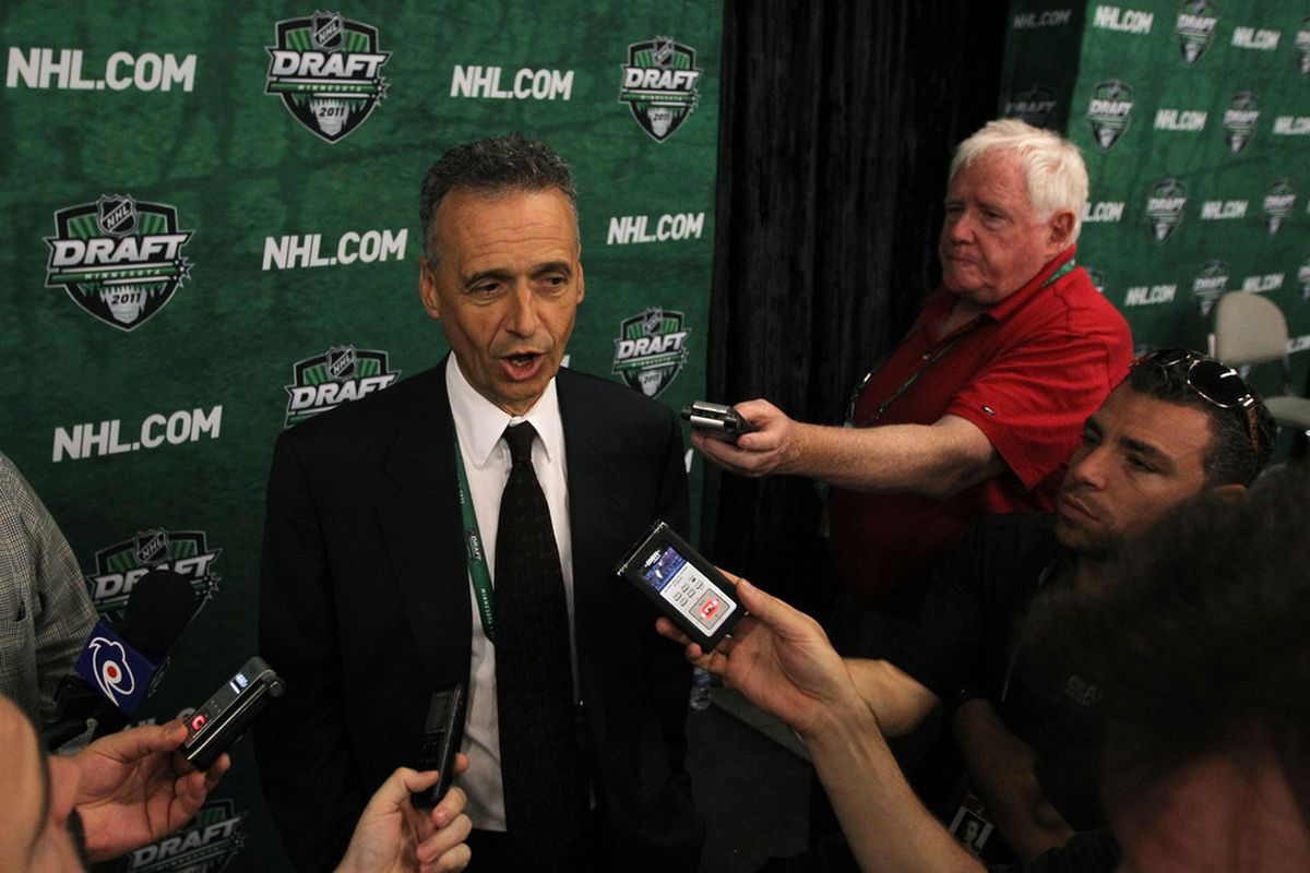 ST PAUL, MN - JUNE 25:  General manager Pierre Gauthier of the Montreal Canadiens answers questions after day two of the 2011 NHL Entry Draft at Xcel Energy Center on June 25, 2011 in St Paul, Minnesota.  (Photo by Bruce Bennett/Getty Images)