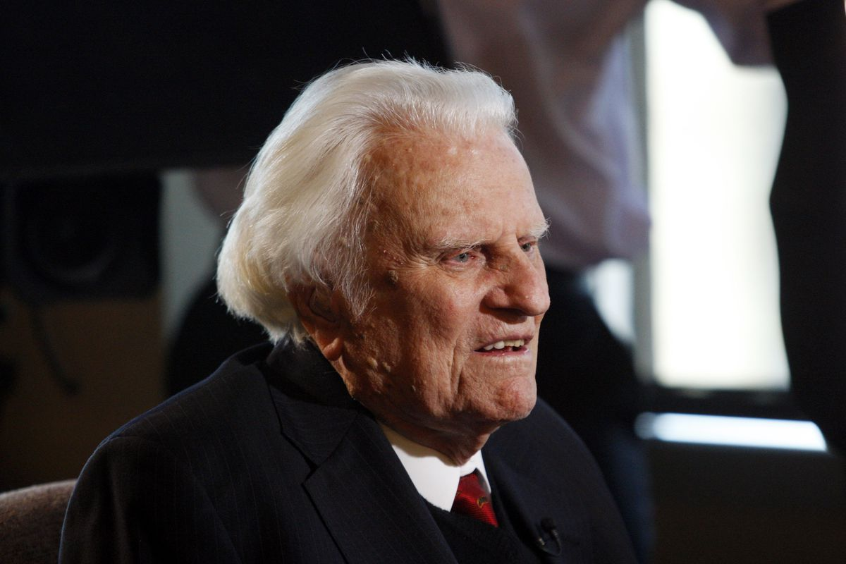 FILE - In this Dec. 20, 2010, photo, Rev. Billy Graham is interviewed at the Billy Graham Evangelistic Association headquarters in Charlotte, N.C.