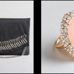 From left: metal safety pin clutch, $64.99 (orig. $94); Marble faceted acrylic and rhinestone ring, $14.99 (orig. $22)