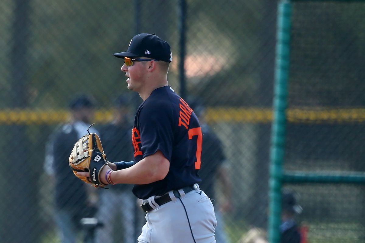 2020 1st overall pick in the MLB Amateur Draft Spencer Torkelson (73) goes thru drills during the Detroit Tigers spring training workout on February 27, 2021 at Tigertown in Lakeland, Florida.