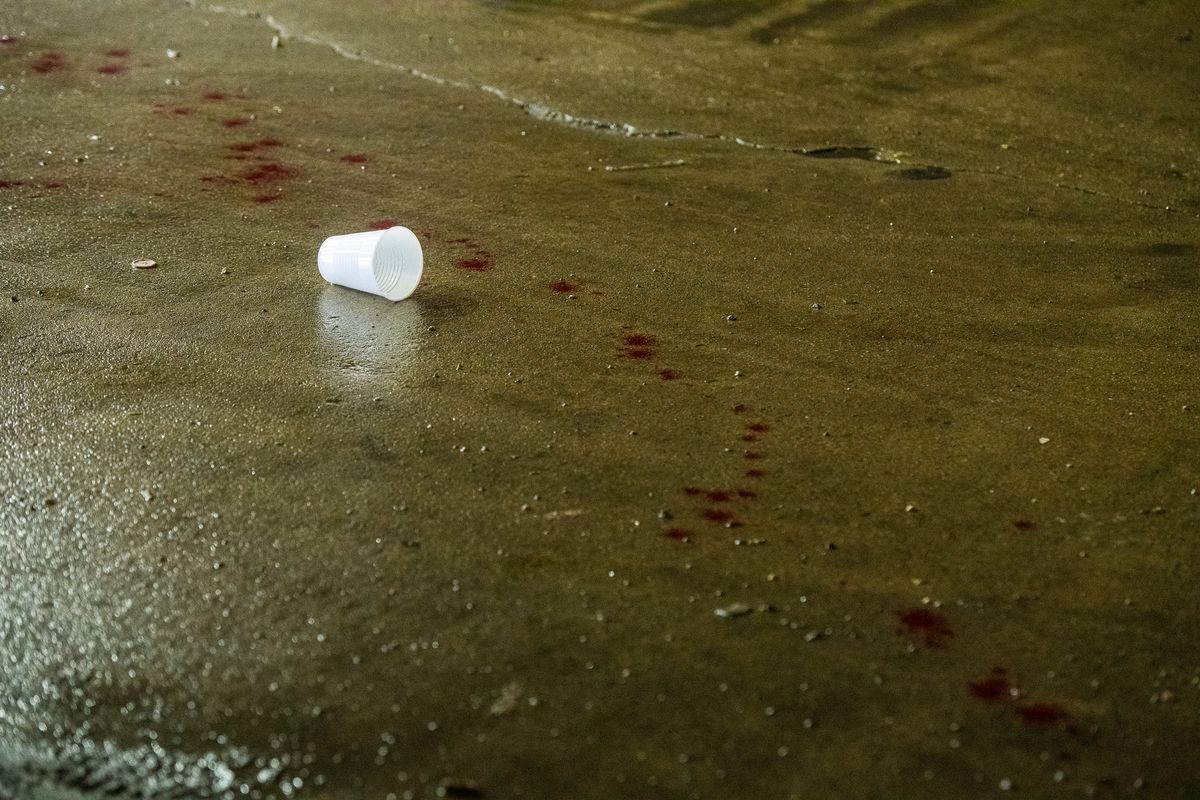 Blood trail in at the FalconFuel gas station where a man walked to after being shot in the hand Sunday night in the 300 block of South Cicero in the Garfield Park neighborhood.   Tyler LaRiviere/Sun-Times