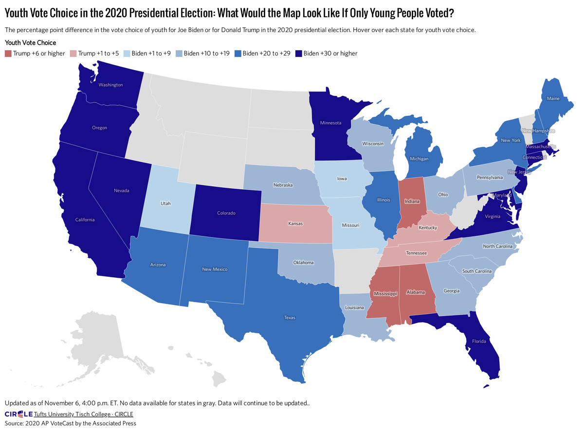 Map of the US showing the election results if only young people voted.