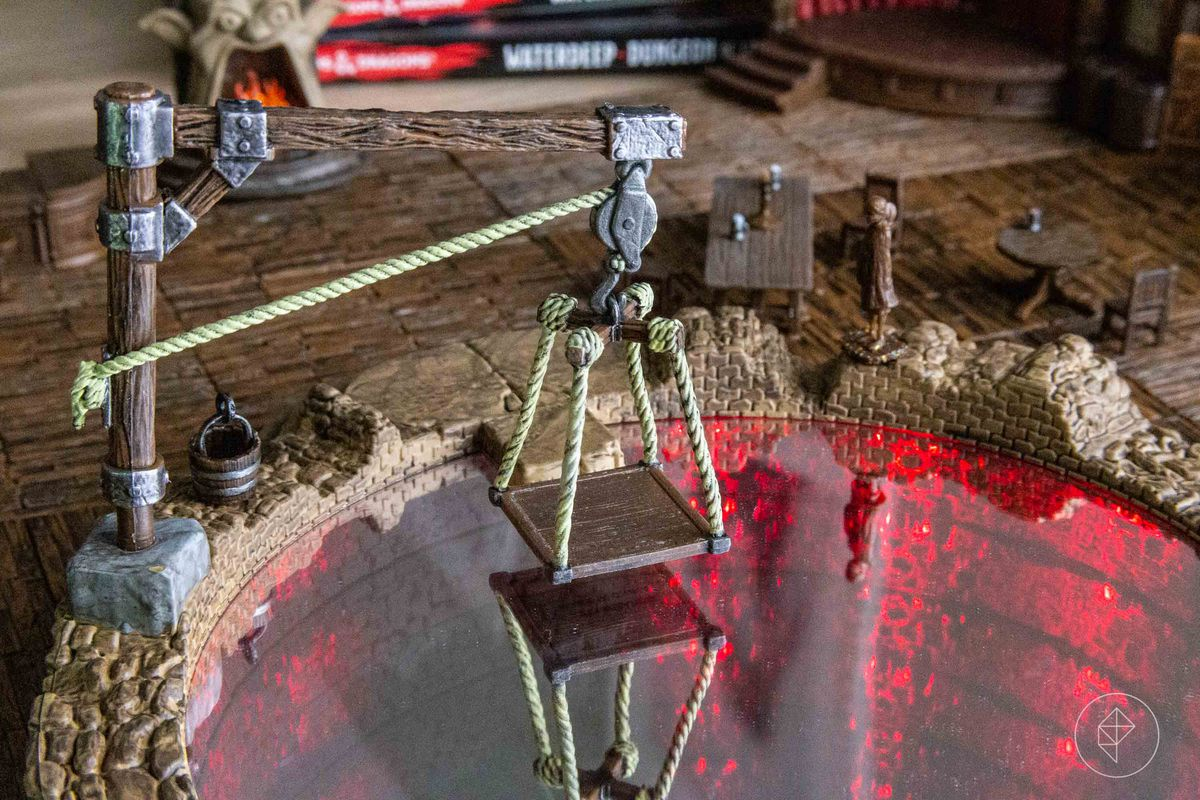 A winch and a platform, used to lower adventurers into the Undermountain.