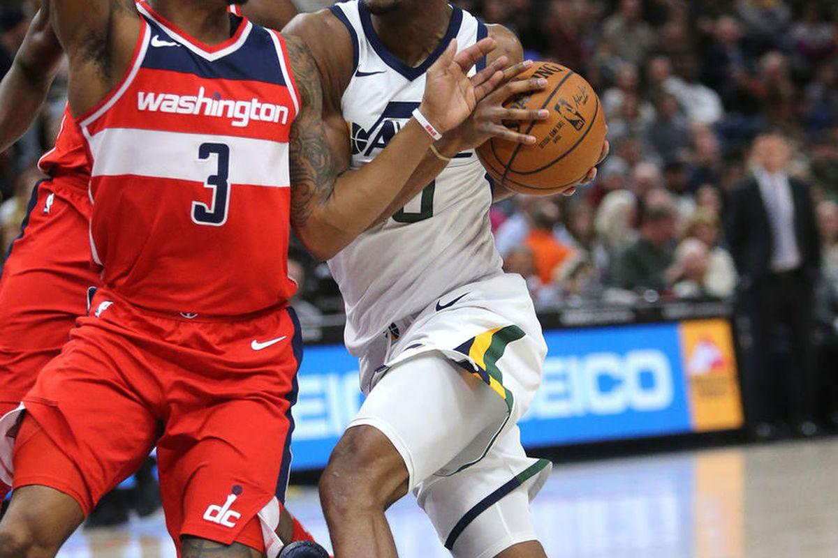 Utah Jazz guard Alec Burks (10) moves past Washington Wizards guard Bradley Beal (3) during an NBA game at the Vivint Smart Home Arena in Salt Lake City on Monday, Dec. 4, 2017. The Jazz won 116-69.