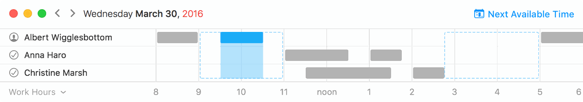 Fantastical for Mac availability lookup