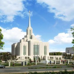 An artist's rendering of what the Ogden Utah Temple of The Church of Jesus Christ of Latter-day Saints will look like after reconstruction is complete.