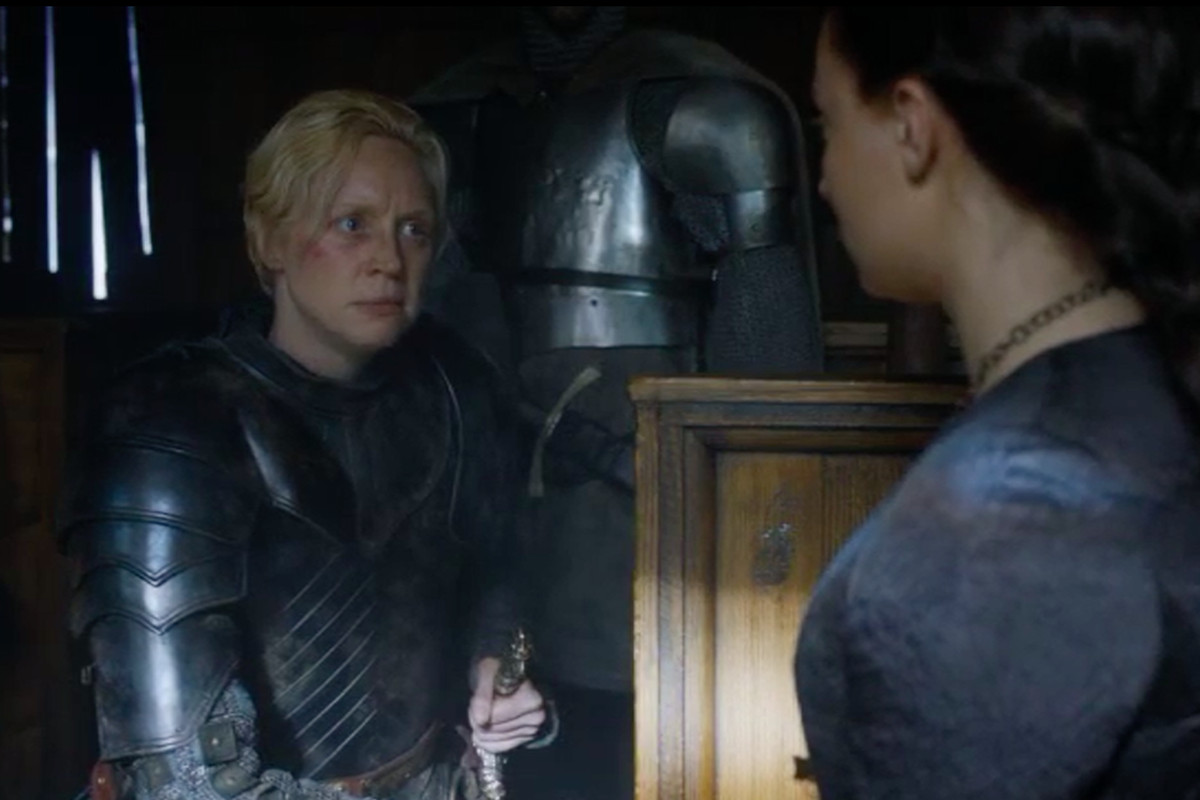 Brienne of Tarth finds Sansa Stark, but is cursed by her past allegiance to King Joffrey.
