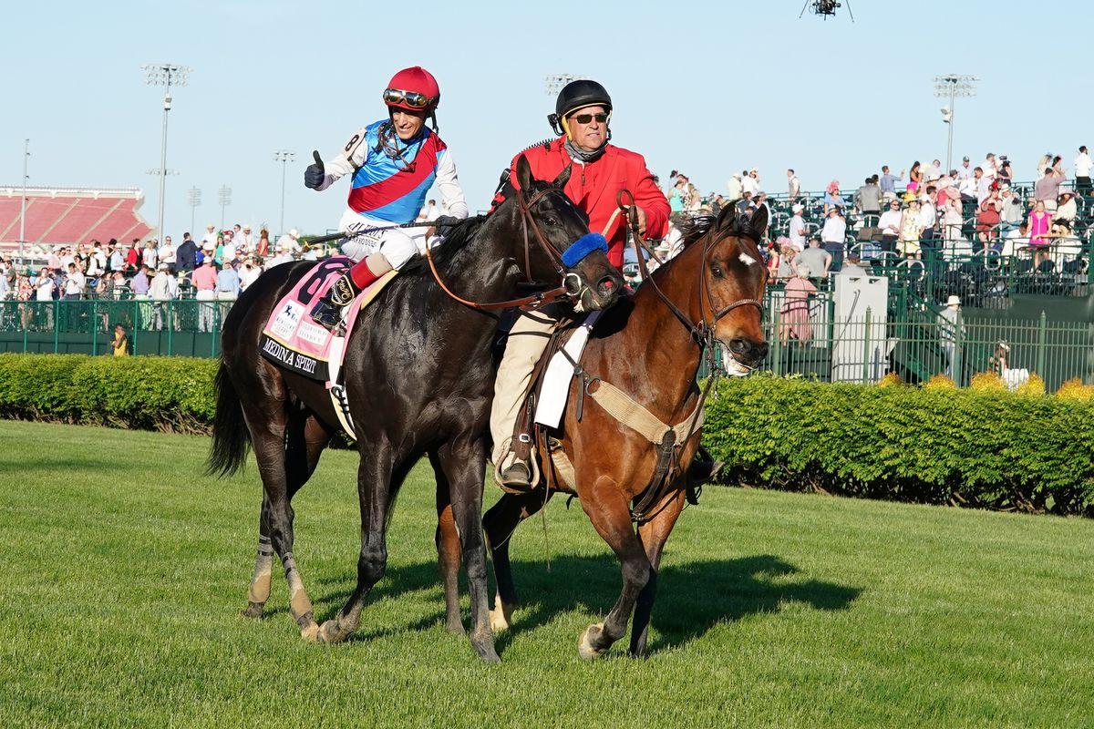 Medina Spirit ridden by jockey John Velazquez heads to the winners circle after winning the 147th Running of the Kentucky Derby on May 1, 2021 at Churchill Downs in Louisville, Kentucky.