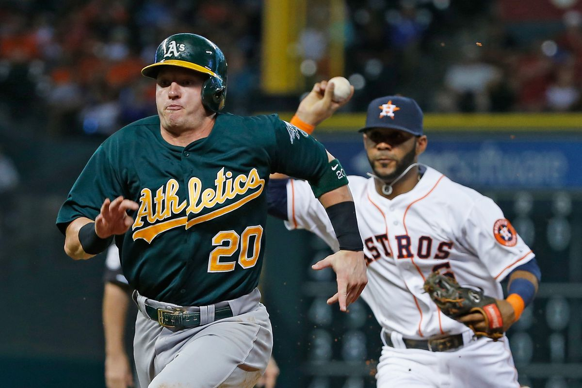 If John Jaso had tried to score on this play, the A's lead could be 3-1.