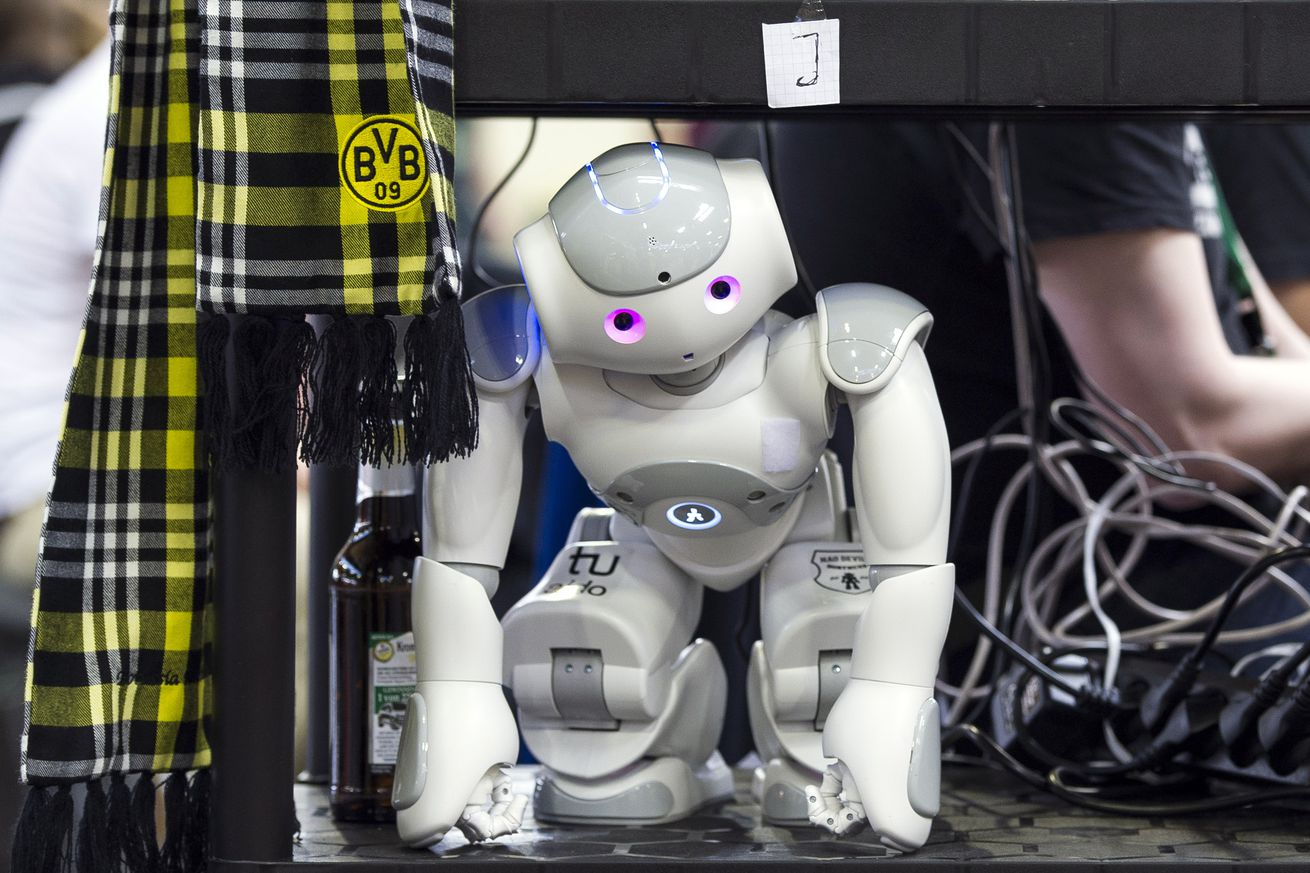 <em>A Nao robot,the same type used in the experiments.</em>
