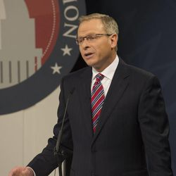 Doug Owens addresses the audience as he debates Mia Love at the Dolores Doré Eccles Broadcast Center on the University of Utah campus in Salt Lake City on Tuesday, Oct. 14, 2014.