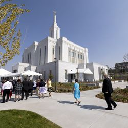 Tour guides attend a meeting as they prepare for an open house at The Church of Jesus Christ of Latter-day Saints' Pocatello Idaho Temple in Pocatello, Idaho, on Monday, Sept. 13, 2021.