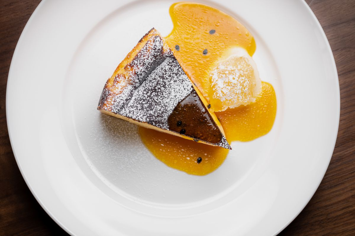 Basque cheesecake with honeycomb and passionfruit