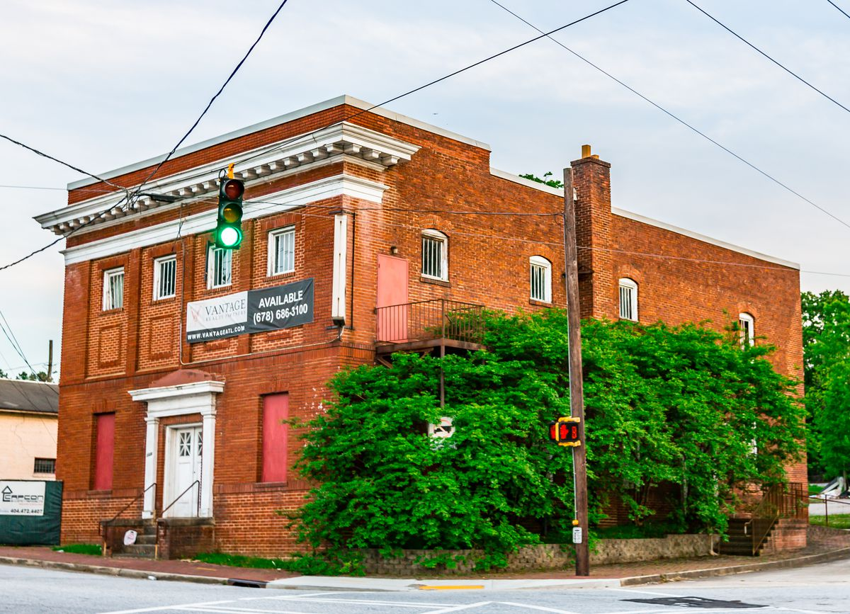The old Masonic lodge at the corner of Bolton and Marietta roads