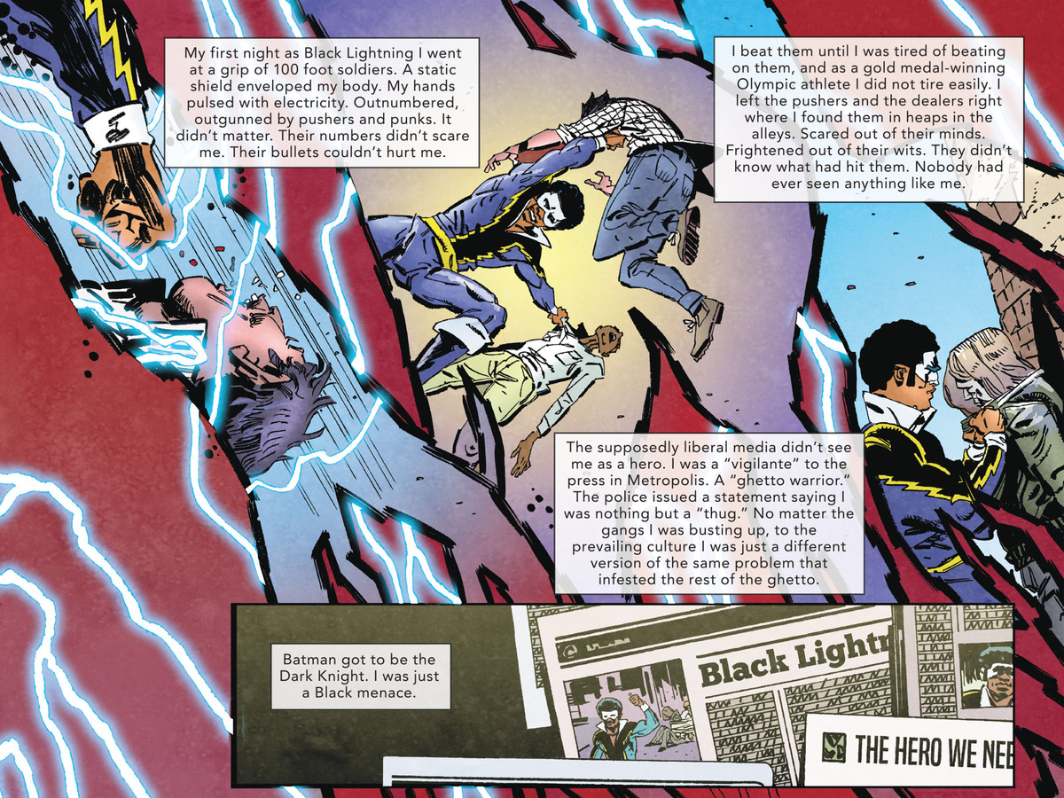 """Jefferson Pierce/Black Lightning describes his first act as a superhero, beating up gang foot soldiers. """"Batman got to be the Dark Knight,"""" he thinks, """"I was just a Black menace,"""" in The Other History of the DC Universe #1, DC Comics (2020)."""