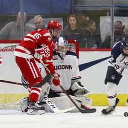 The Boston University Terriers take on the UConn Huskies in a men's college hockey game at the XL Center in Hartford, CT on February 15, 2019.