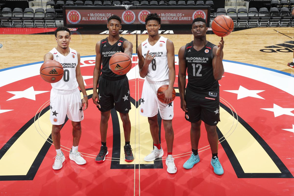 ... left to right McDonalds High School All American guard Tre Jones (0)  and guard RJ Barrett (6) and guard Cameron Reddish (8) and forward Zion  Williamson ... 5956afd2f