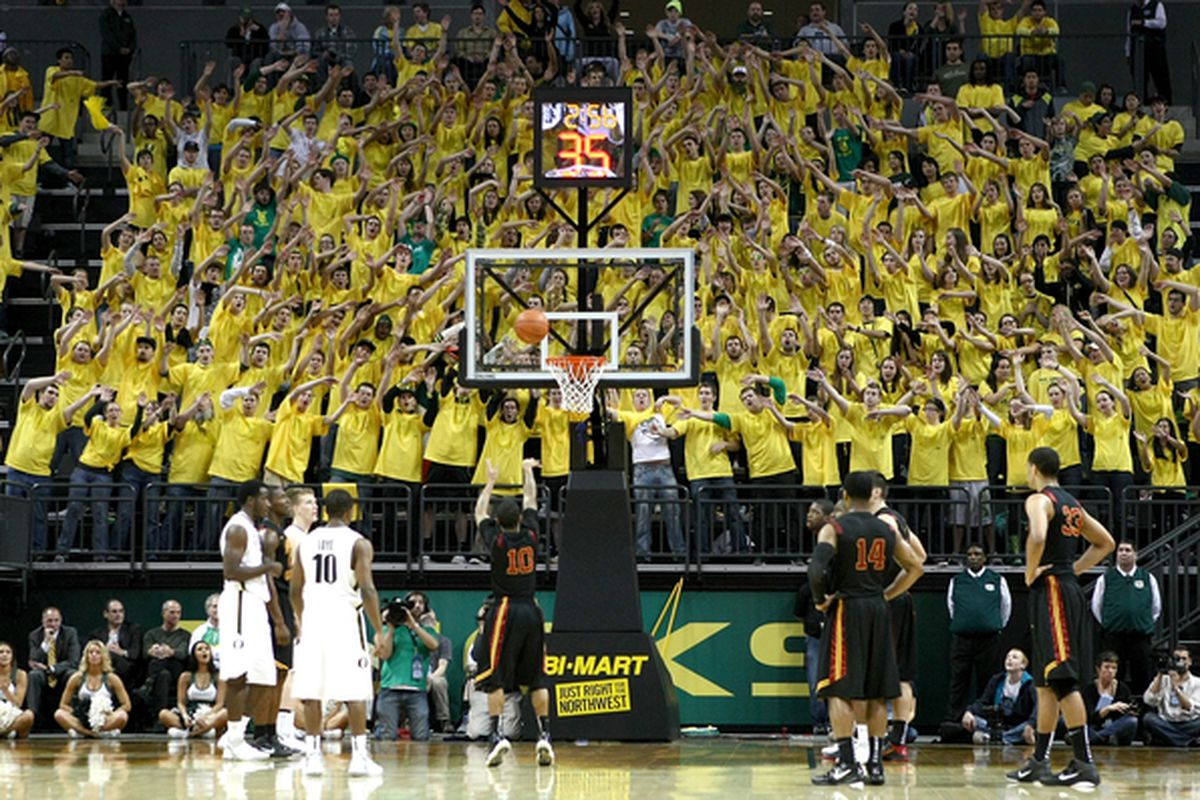 Matthew Knight Arena gave the Oregon basketball program a major upgrade. It's time for the Pit Crew to follow suit.  (Photo by Jonathan Ferrey/Getty Images)