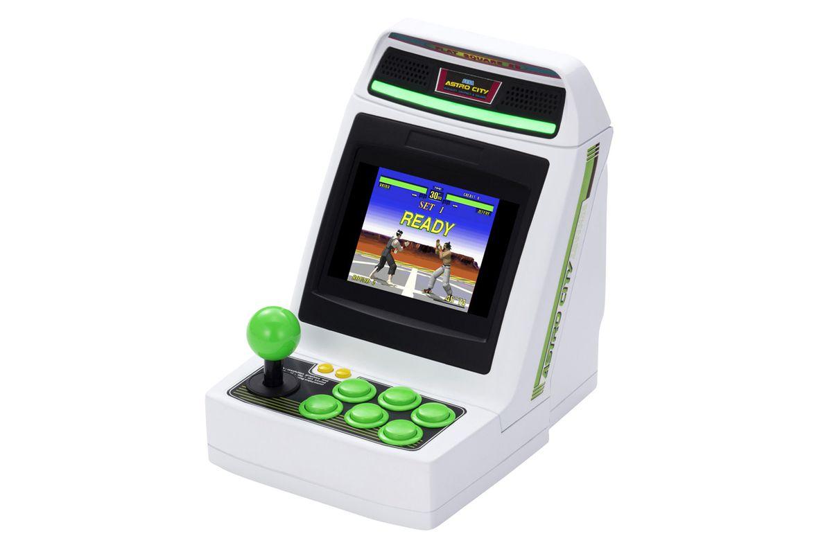 A shot of the Sega Astro City Mini retro arcade cabinet on a white background