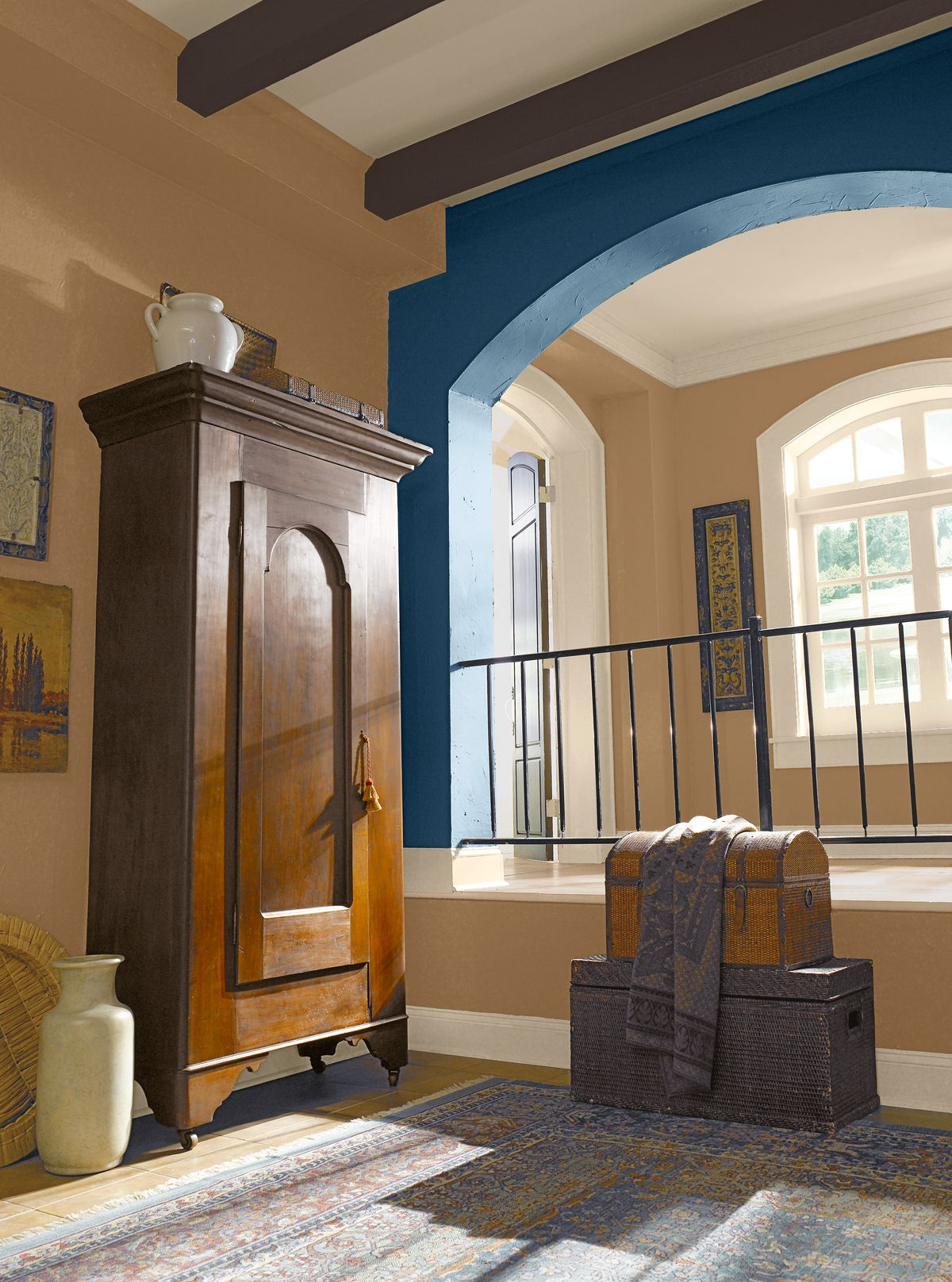 Spanish Revival Home With Blue And Beige Interior
