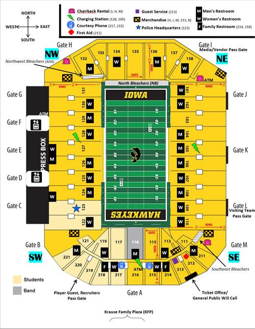 Kinnick Stadium Map Iowa Football: A Tailgater's Guide to Iowa City   Black Heart Gold  Kinnick Stadium Map