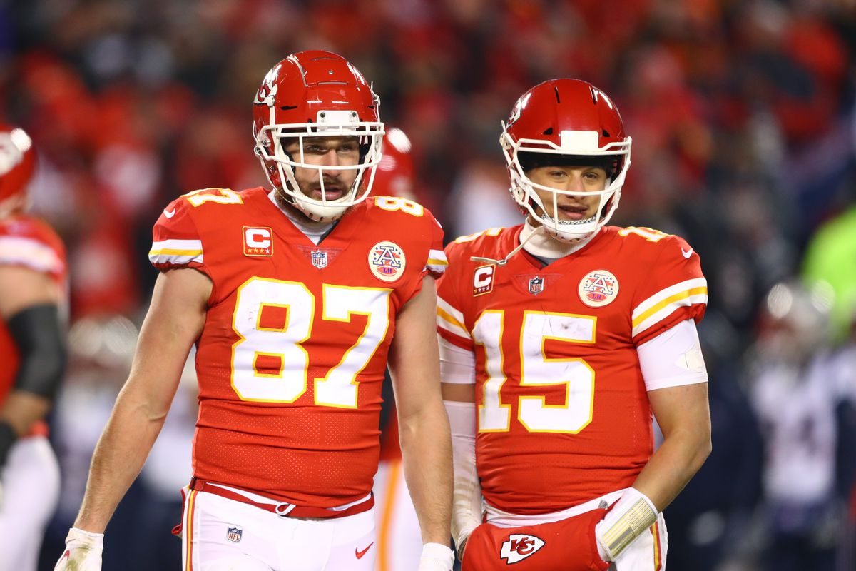 Kansas City Chiefs tight end Travis Kelce and quarterback Patrick Mahomes against the New England Patriots during the AFC championship game at Arrowhead Stadium.
