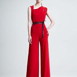 "When else will you wear a red jumpsuit? Escada Thaya red jumpsuit, <a href=""http://www.neimanmarcus.com/p/Escada-Thayet-Jumpsuit/prod147820050/?ecid=NMALRFeedHy3bqNL2jtQ...&ci_src=14110944&ci_sku=prod147820050skuMEDIUM&CS_003=5630585"">$690</a> (extra 40%"