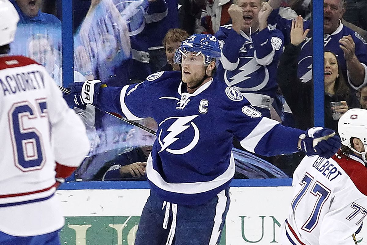 Lightning captain Steven Stamkos reacts after scoring in the first period of Tampa Bay's 4-2 win over Montreal Monday night in Tampa