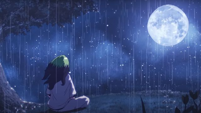 """An animated Billie Eilish stares at the moon in the """"my future"""" music video"""