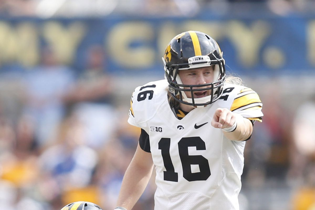 C.J. Beathard pointed Iowa to victory yesterday over Pitt, 24-20.
