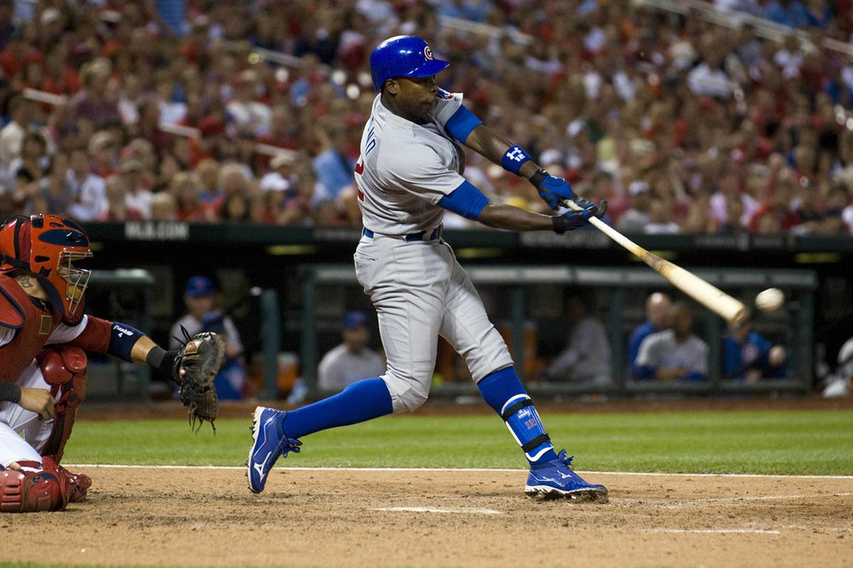 St. Louis, MO. USA; Chicago Cubs left fielder Alfonso Soriano hits a single against the St. Louis Cardinals at Busch Stadium. Credit: Jeff Curry-US PRESSWIRE