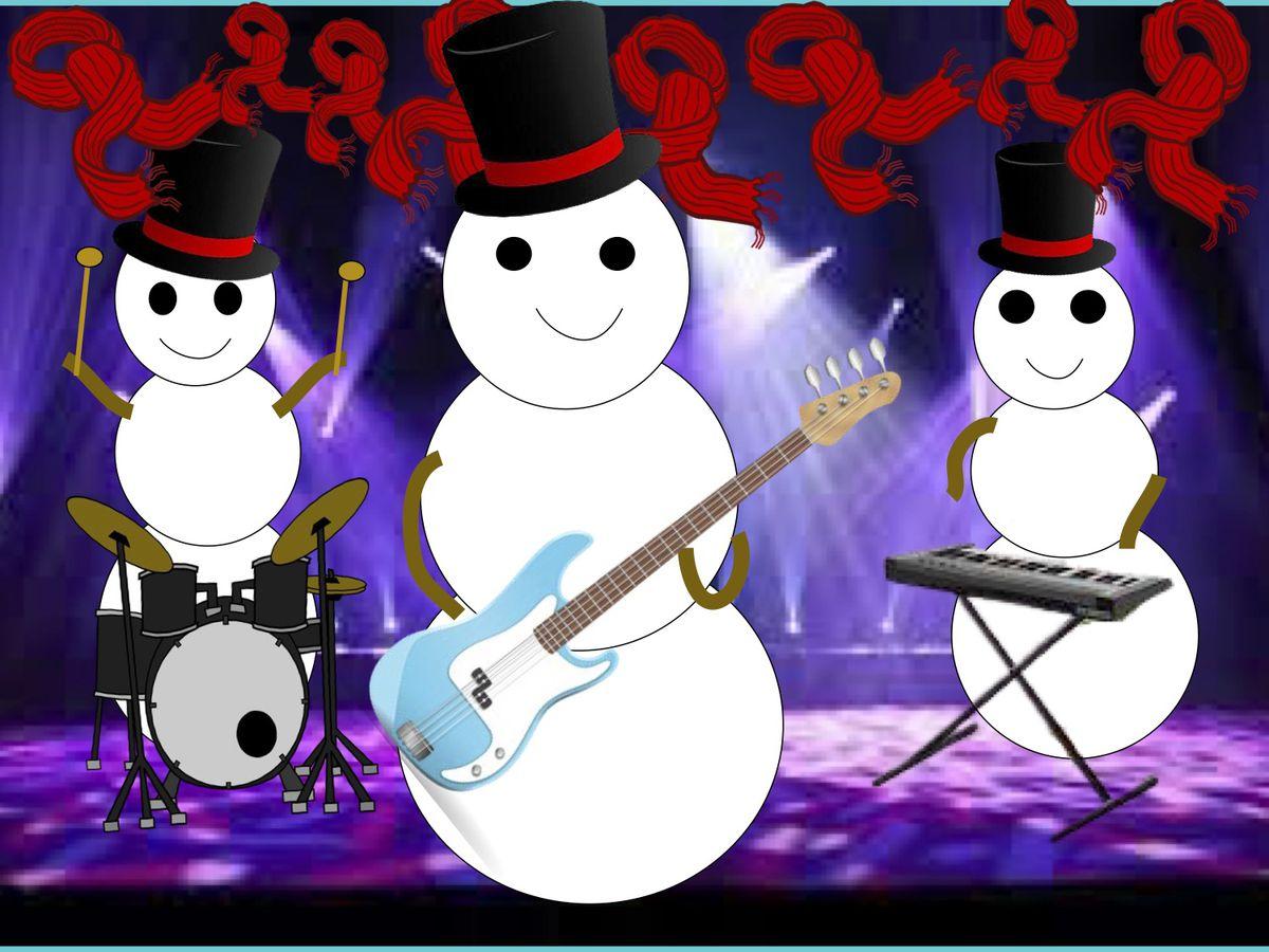 Rock 'n' roll snowmen by AvaM., 11, a fifth-grader at Dr. Bessie Rhodes School of Global Studies in Skokie.