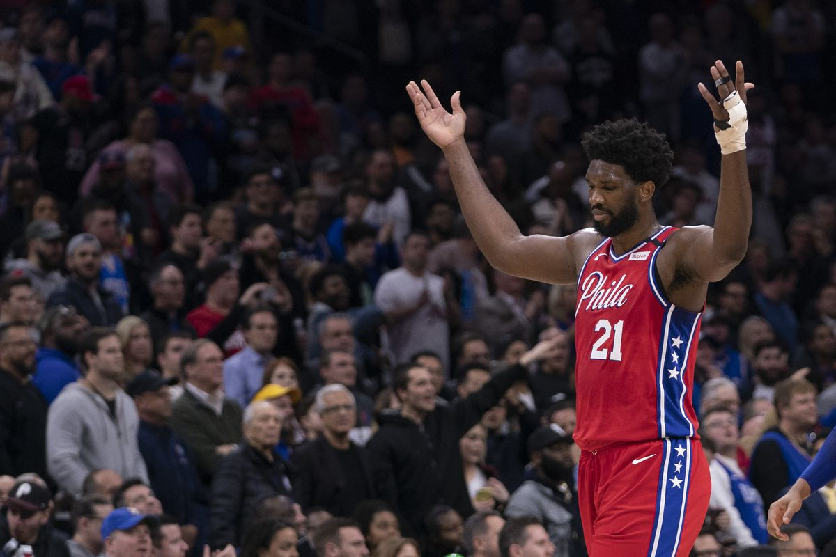 Joel Embiid of the Philadelphia 76ers reacts against the Los Angeles Clippers at the Wells Fargo Center on February 11, 2020 in Philadelphia, Pennsylvania. The 76ers defeated the Clippers 110-103.