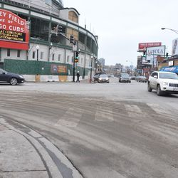 Here's an example of why the street sweeping trucks are so necessary for the neighborhood. This is what the intersection of Clark and Addison looked like, before it was attended to by the street sweepers