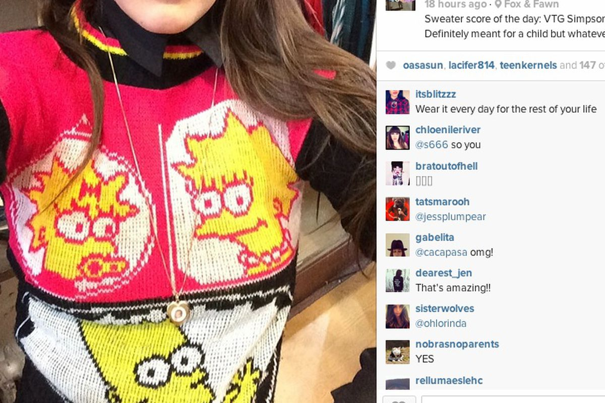 """<a href=""""http://instagram.com/p/kNue2hoXun/"""">This</a> vintage Simpsons sweater (with 150 likes) is now sold"""