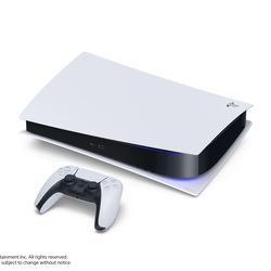 The PlayStation 5 Digital Edition — note the lack of a disc drive — lying horizontally.