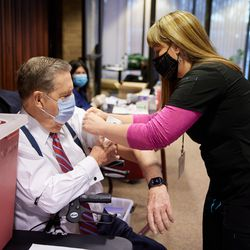 Senior leaders of The Church of Jesus Christ of Latter-day Saints over 70 and their spouses received the first dose of the COVID-19 vaccine on Tuesday.