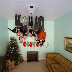 The Slade family Christmas card 2013 featured their anti-gravity dust.