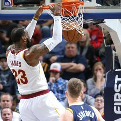 Cleveland Cavaliers forward LeBron James (23) dunks during the game against the Utah Jazz at Vivint Arena in Salt Lake City on Saturday, Dec. 30, 2017.