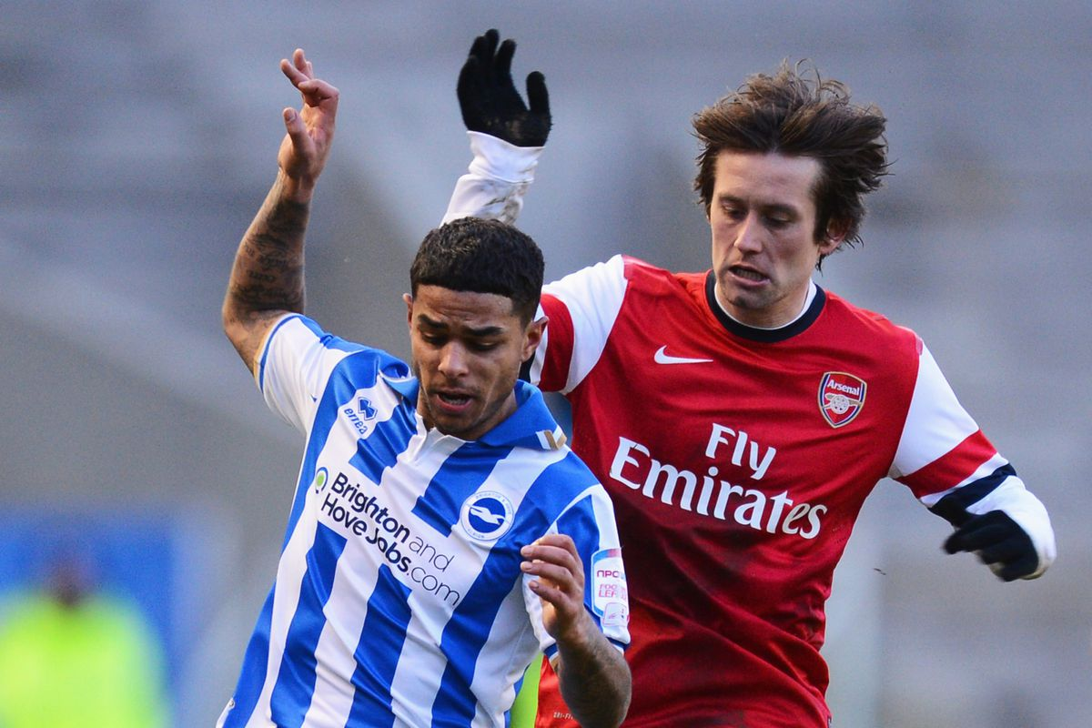 Bridcutt in action against Arsenal