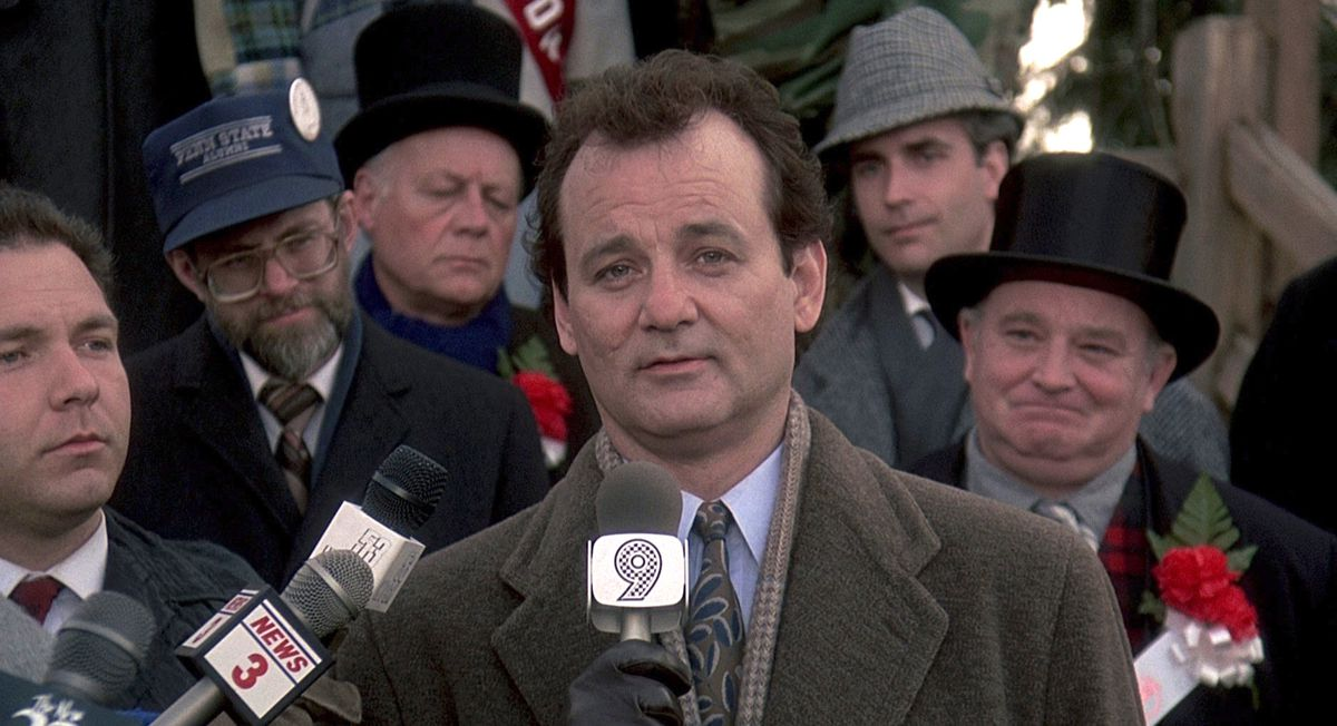 Bill Murray's character Phil gives a heartfelt on-camera speech in Harold Ramis' Groundhog Day.