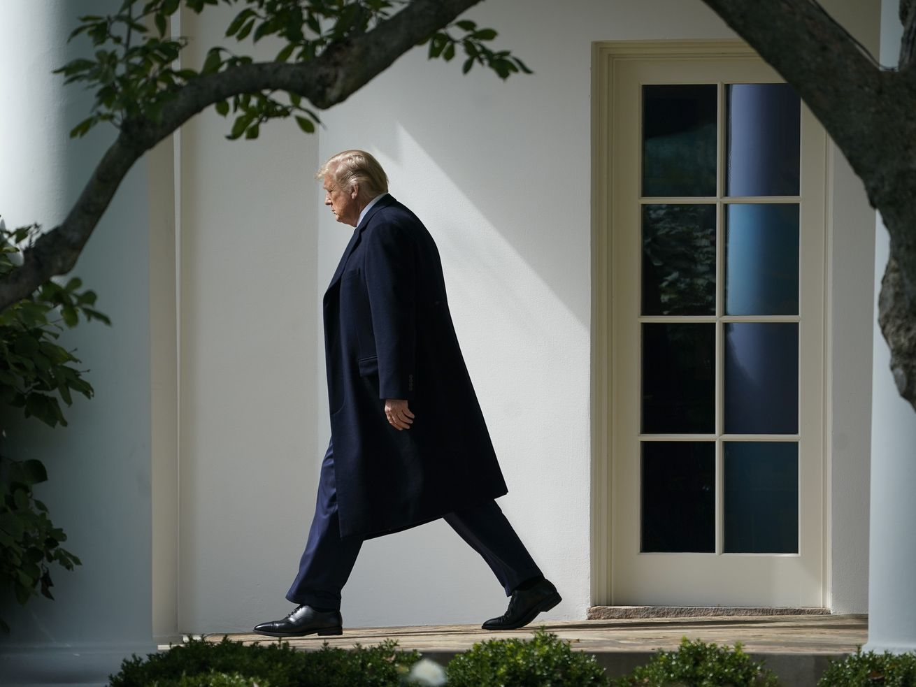 President Trump walking alongside the White House.