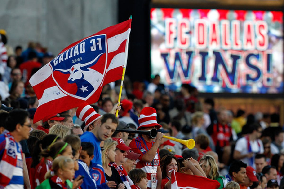 FRISCO TX - OCTOBER 30:  FC Dallas fans celebrate after FC Dallas beat Real Salt Lake 2-1 at Pizza Hut Park on October 30 2010 in Frisco Texas.  (Photo by Tom Pennington/Getty Images)